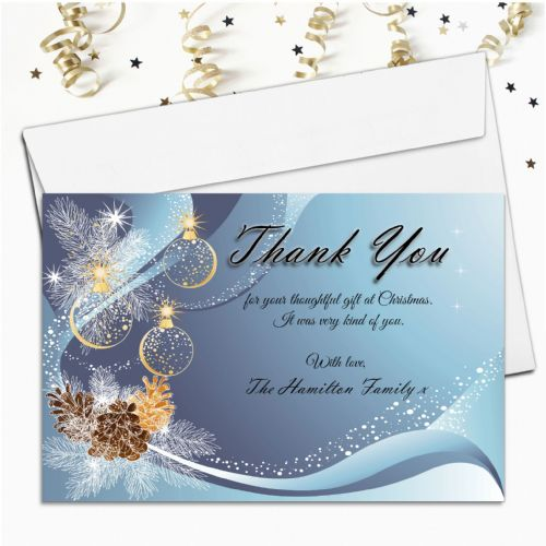 10 Personalised Christmas Xmas Thank you Cards N22